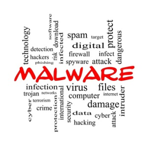 Malware Word Cloud Concept in red caps
