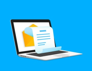 Newsletter illustration with laptop isolated on blue