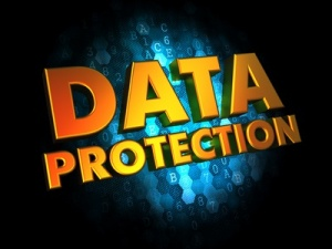 Data Protection - Golden Color Text on Dark Blue Digital Background.
