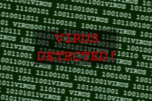 Concept of a computer virus next to binary code