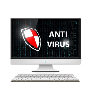 Logo display with a shield. Anti-virus software. Stock vector illustration.