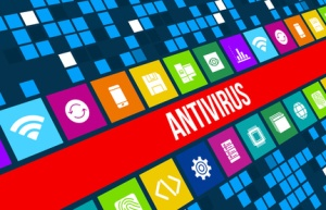 Antivirus concept image with technology icons and copyspace