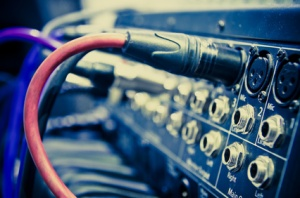 audio cable in a studio closeup